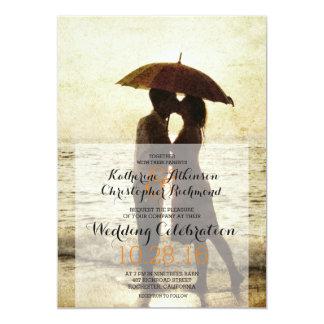 couples sur la plage/faire-part de mariage carton d'invitation  12,7 cm x 17,78 cm