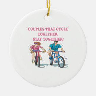 Couples That Cycle Together Ceramic Ornament