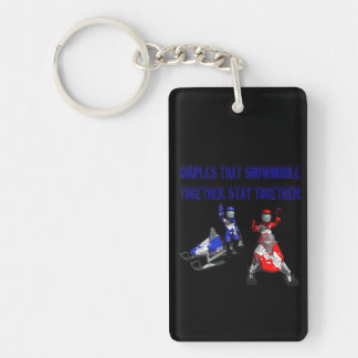 Couples That Snowmobile Together Double-Sided Rectangular Acrylic Keychain