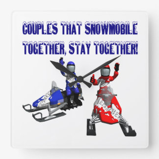 Couples That Snowmobile Together Wallclock