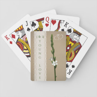 Couple's tiny white flowers playing cards