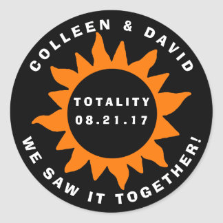 Couples Totality Solar Eclipse Personalized Classic Round Sticker
