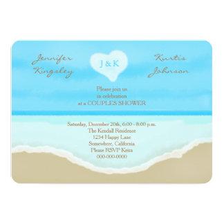 "Couples Wedding Shower Invitations Beach 5"" X 7"" Invitation Card"
