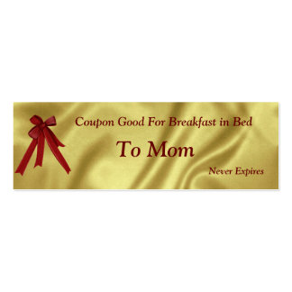 Coupon Christmas For Mom Breakfast in Bed Pack Of Skinny Business Cards
