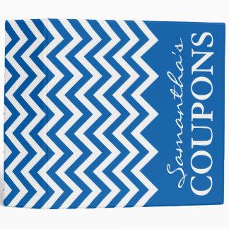 Coupon holder for couponer Blue chevron organizer 3 Ring Binder