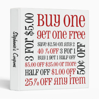 Coupon Lingo Binder - Red and Black