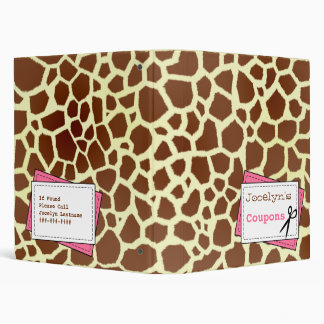 Coupon Organizer - Giraffe Print & Pink 3 Ring Binders