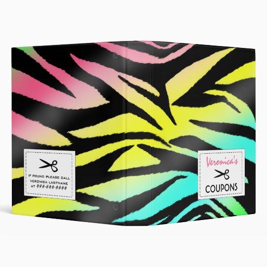 Coupon Organizer - Neon Zebra Print Vinyl Binders