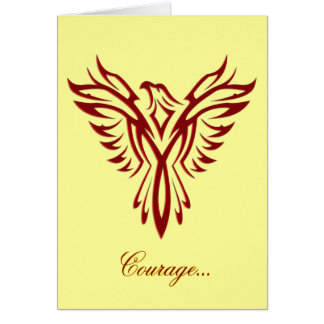 Courage - Crimson Phoenix Rising blank notelet Card