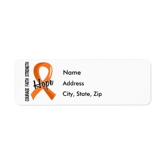 Courage Faith Hope 5 Leukaemia Return Address Label