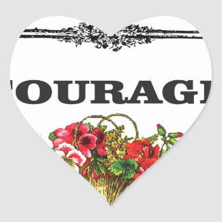 courage in pink heart sticker