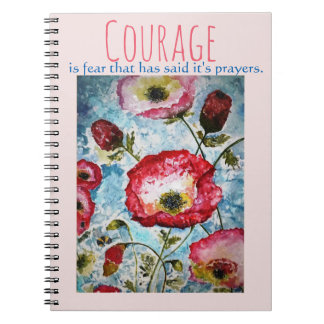 Courage Inspiration Floral Watercolor Art Notebook