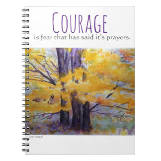 Courage Inspiration Watercolor Art Spiral Notebook