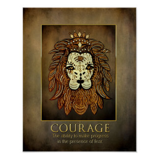 Courage Poster - Abstract Lion - Brown