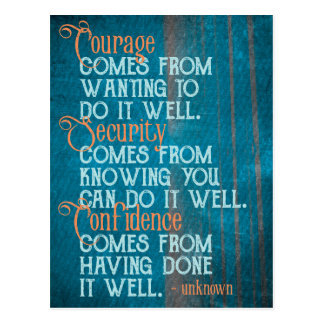 Courage/Security/Confidence Inspirational Quote Postcard