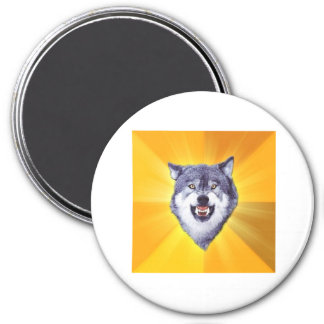 Courage Wolf Advice Animal Meme 3 Inch Round Magnet