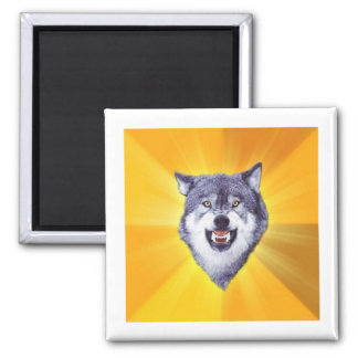 Courage Wolf Advice Animal Meme Square Magnet