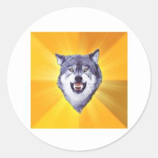 Courage Wolf Round Sticker