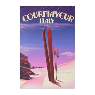 Courmayeur Italian ski poster Acrylic Wall Art