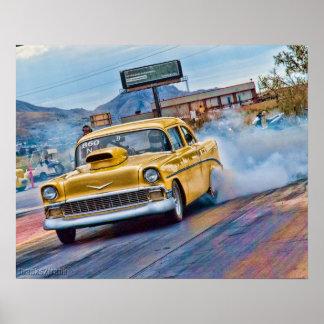 course de dragsters chevy de 1955 Bel Air Poster
