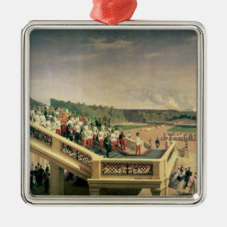 Court banquet in the Gardens of Schonbrunn Palace Silver-Colored Square Ornament