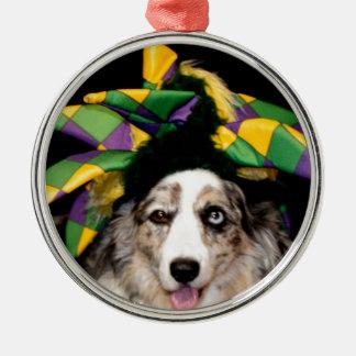 Court Jester Cardigan Welsh Corgi Silver-Colored Round Ornament