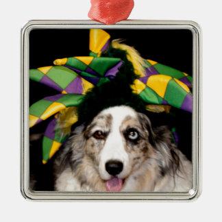 Court Jester Cardigan Welsh Corgi Silver-Colored Square Ornament