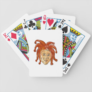 Court Jester Head Drawing Bicycle Playing Cards