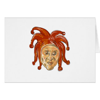 Court Jester Head Drawing Card