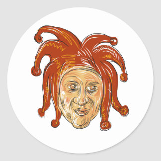 Court Jester Head Drawing Classic Round Sticker