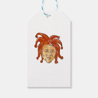 Court Jester Head Drawing Gift Tags