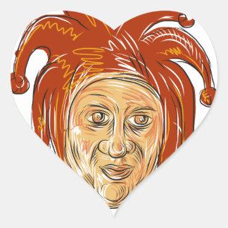 Court Jester Head Drawing Heart Sticker