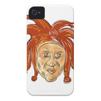 Court Jester Head Drawing iPhone 4 Cover