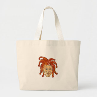 Court Jester Head Drawing Large Tote Bag