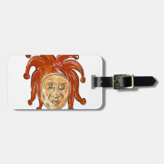 Court Jester Head Drawing Luggage Tag