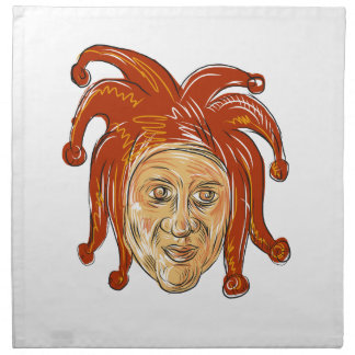 Court Jester Head Drawing Napkin