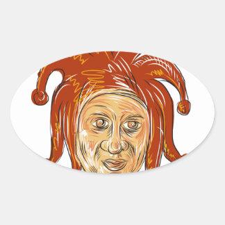 Court Jester Head Drawing Oval Sticker