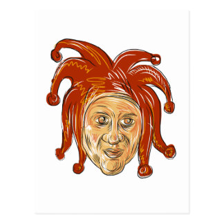 Court Jester Head Drawing Postcard