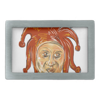 Court Jester Head Drawing Rectangular Belt Buckle