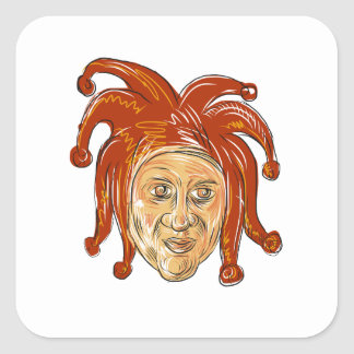 Court Jester Head Drawing Square Sticker
