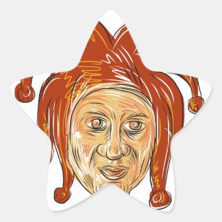 Court Jester Head Drawing Star Sticker