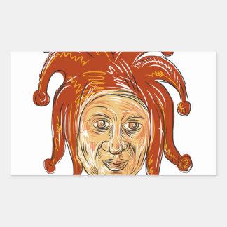 Court Jester Head Drawing Sticker