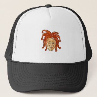 Court Jester Head Drawing Trucker Hat