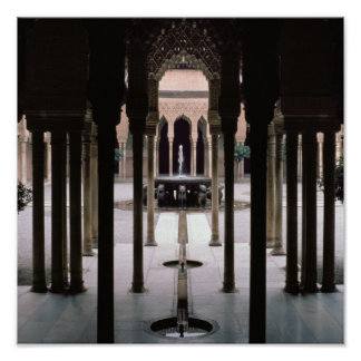 Court of Lions begun during reign of Mohammed V Poster