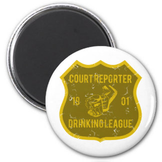 Court Reporter Drinking League 2 Inch Round Magnet