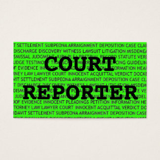 Court Reporter Words Business Card in Neon Green