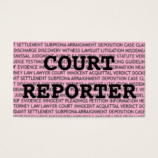 Court Reporter Words Business Card in Pink