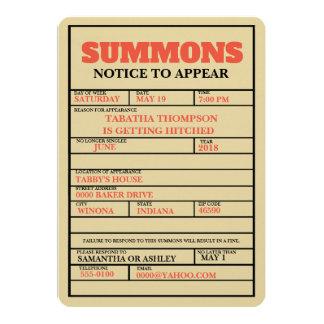 Court Summons Bachelorette Invitation