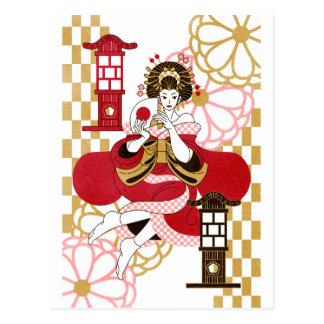 Courtesan and paper-covered lamp stand (Oiran and Postcard