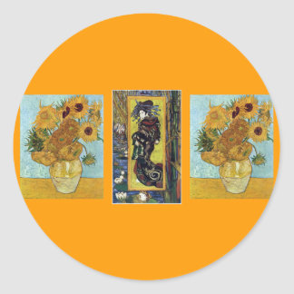 Courtesan and Sunflowers by Van Gogh Classic Round Sticker